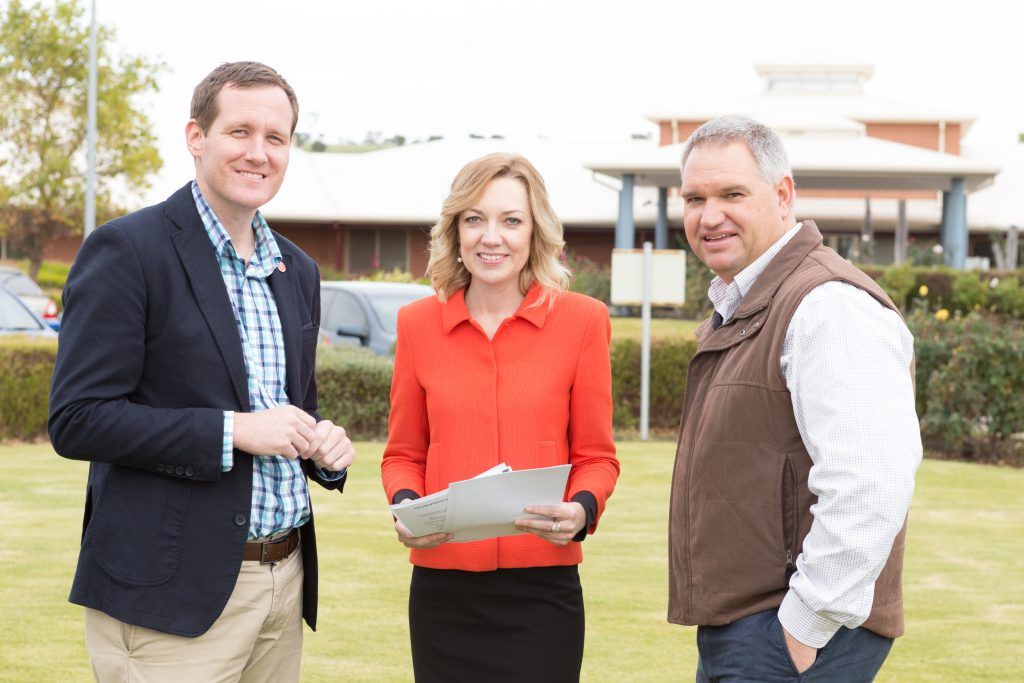 Member for the Agricultural Region Hon Martin Aldridge MLC, local MP Mia Davies MLA and Nationals WA candidate for the Agricultural Region Leigh Ballard at Northam Hospital. Picture: Nationals WA