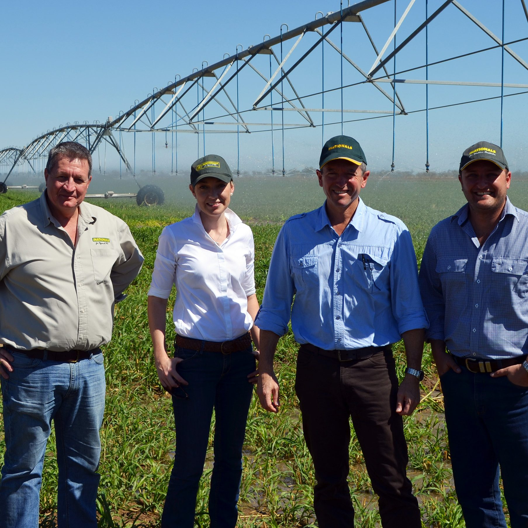 Dave Grills MLC, Water Minister Mia Davies, Regional Development Minister Terry Redman and Vince Catania MLA at Gogo Station near Fitzroy Crossing.