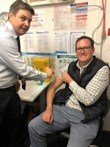 Martin Receiving his Flu Shot